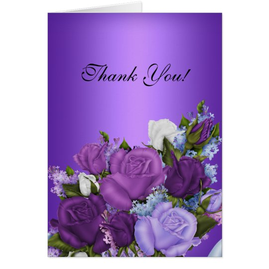 vintage thank you card white roses purple flowers