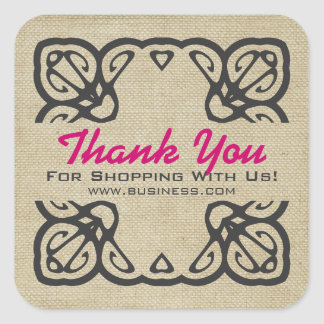 Vintage Thank You For Shopping Custom Pink Square Sticker