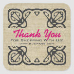 Vintage Thank You For Shopping Custom Pink Square Stickers