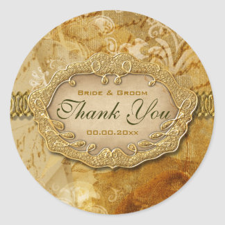 "Vintage ""thank you"" gold brown wedding classic round sticker"
