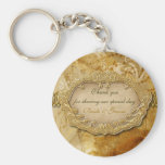 "Vintage ""thank you"" gold brown wedding key chains"