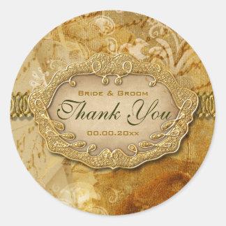 """Vintage """"thank you"""" gold brown wedding round sticker"""