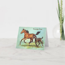 Vintage - Thank You - Horses Run in a Pasture,