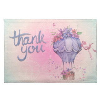 Vintage Thank You Hot Air Balloon Cloth Placemat