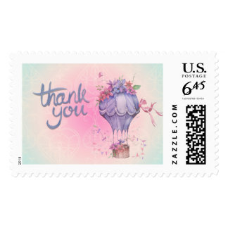 Vintage Thank You Hot Air Balloon Postage