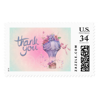 Vintage Thank You Hot Air Balloon Postage Stamp