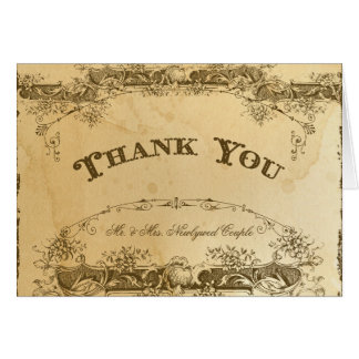 Vintage Thank You Note Tea Stained Parchment Art Card