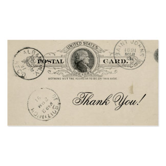 Vintage Thank You Old Stained Paper Business Cards