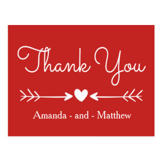 Vintage Thank You Red & White Heart & Arrows Postcard