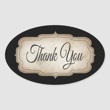 Professional Business Vintage Thank You Tan & Black Rustic Stickers