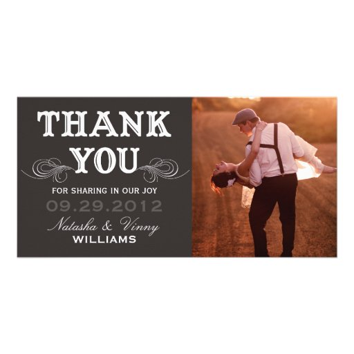 VINTAGE THANK YOU | WEDDING THANK YOU CARD PERSONALIZED PHOTO CARD