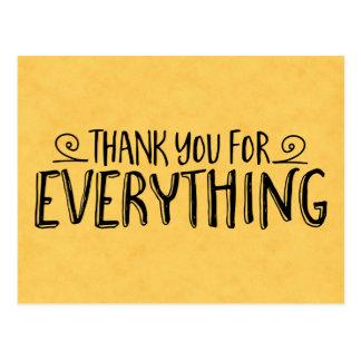 Vintage Thank You Yellow Gold & Black Handwritten Postcard