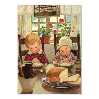 Vintage Thankful Children Thanksgiving Invitation