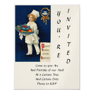 "Vintage Thanksgiving 4.25"" X 5.5"" Invitation Card"