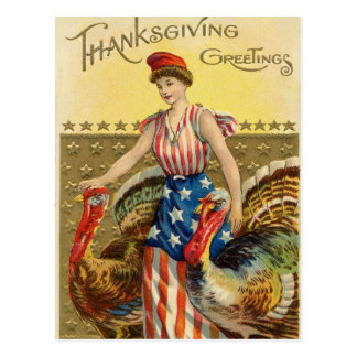 Vintage Thanksgiving American Greeting Postcard