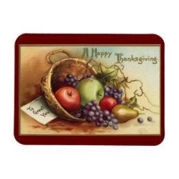 Vintage Thanksgiving Basket Of Fruit Magnet