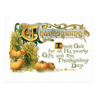 Vintage Thanksgiving Blessing with Pumpkins Postcard