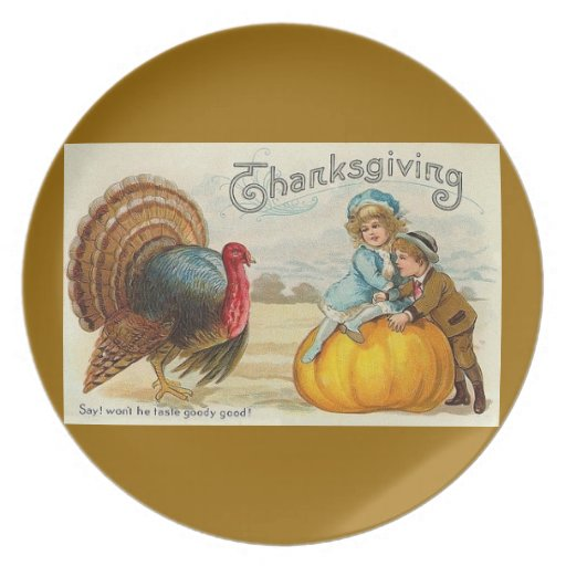 Vintage Thanksgiving Card Turkey with Boy and Girl Plate