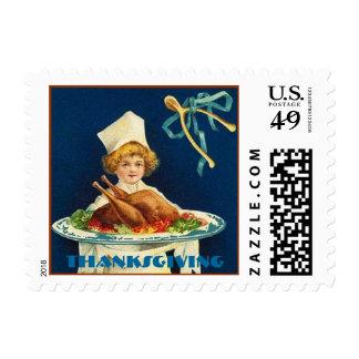 Vintage Thanksgiving Child Chef Stamp