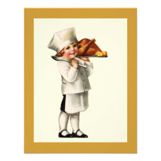 Vintage Thanksgiving Child Chef Turkey INVITATIONS