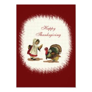 Vintage Thanksgiving Child & Turkey Card