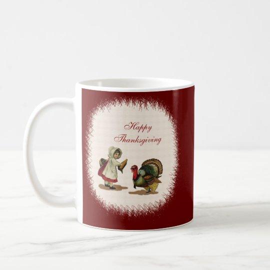 Vintage Thanksgiving Child & Turkey Coffee Mug