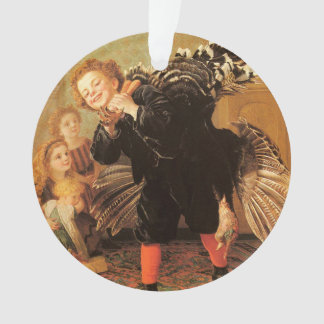 Vintage Thanksgiving Children & Turkey Ornament