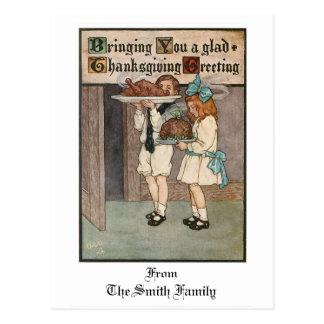 Vintage Thanksgiving Children with Turkey Postcard