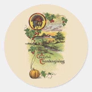 Vintage Thanksgiving Classic Round Sticker