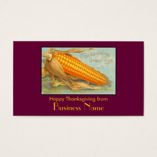 Vintage Thanksgiving Corn Husk Business Card