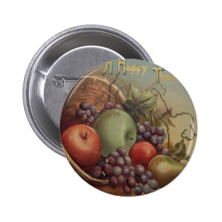 Vintage Thanksgiving - Cornucopia of Fruit Pinback Button