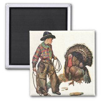 Vintage Thanksgiving, Cowboy Catching a Turkey Magnet