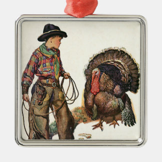 Vintage Thanksgiving, Cowboy Catching a Turkey Metal Ornament