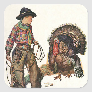 Vintage Thanksgiving, Cowboy Catching a Turkey Square Sticker