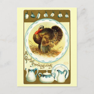 Vintage Thanksgiving Crockery Holiday Postcard & Thanksgiving Dinnerware Gifts on Zazzle