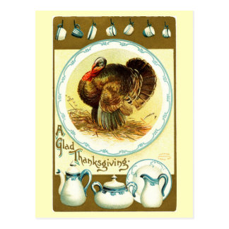 Vintage Thanksgiving Crockery Postcard