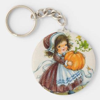 Vintage Thanksgiving Day Girl Keychain
