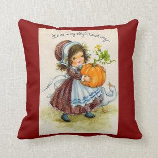 Vintage Thanksgiving Day Girl Throw Pillows