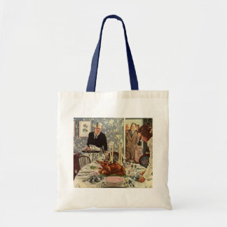 Vintage Thanksgiving Day Turkey Dinner with Family Tote Bags