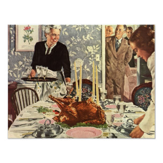 Vintage Thanksgiving Day Turkey Dinner with Family Card