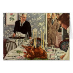 Vintage Thanksgiving Day Turkey Dinner with Family Greeting Card