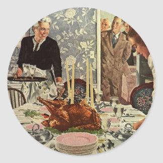 Vintage Thanksgiving Day Turkey Dinner with Family Classic Round Sticker