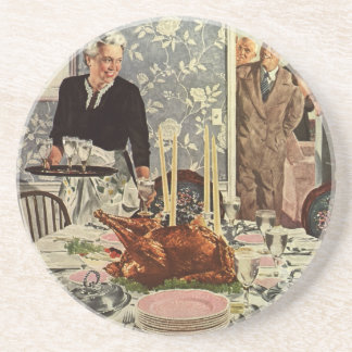 Vintage Thanksgiving Day Turkey Dinner with Family Drink Coaster