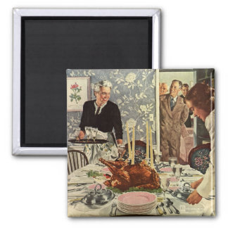 Vintage Thanksgiving Day Turkey Dinner with Family Magnet