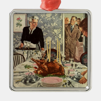 Vintage Thanksgiving Day Turkey Dinner with Family Metal Ornament