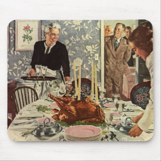 Vintage Thanksgiving Day Turkey Dinner with Family Mouse Pad