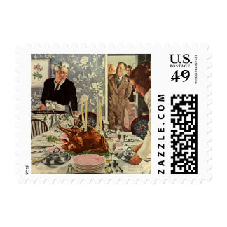 Vintage Thanksgiving Day Turkey Dinner with Family Postage