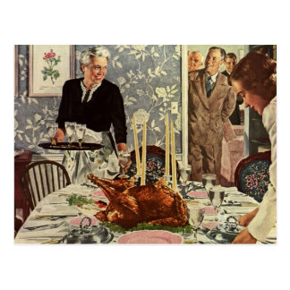 Vintage Thanksgiving Day Turkey Dinner with Family Postcard