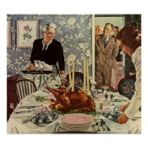 Vintage Thanksgiving Day Turkey Dinner with Family Poster