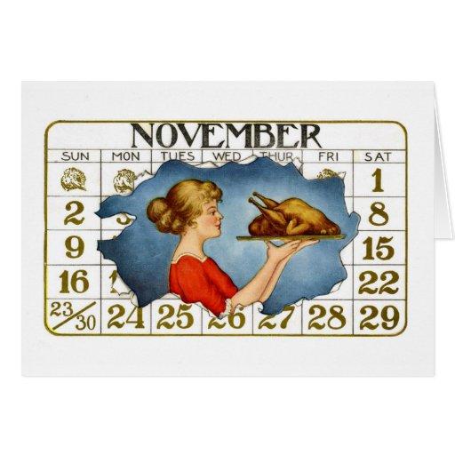 Vintage Thanksgiving Dinner Greeti... - Customized Greeting Card